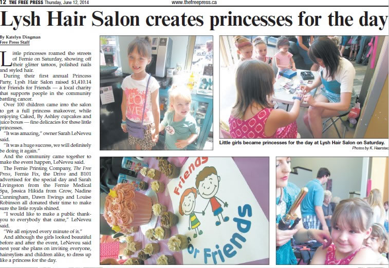 Lysh's first Princess Party - Fernie Free Press article