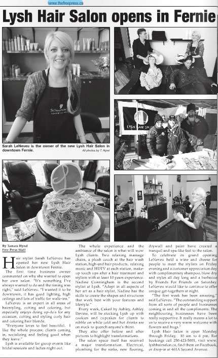 Lysh Opens in Fernie! - Fernie Free Press article
