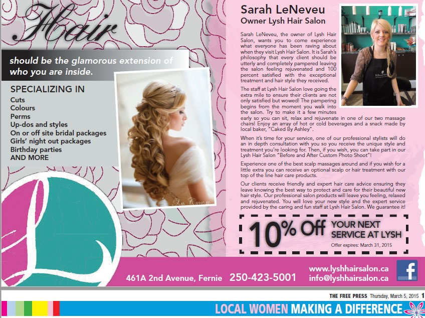 Fernie Free Press - Women in Business - Sarah LeNeveu, Lysh Hair Salon
