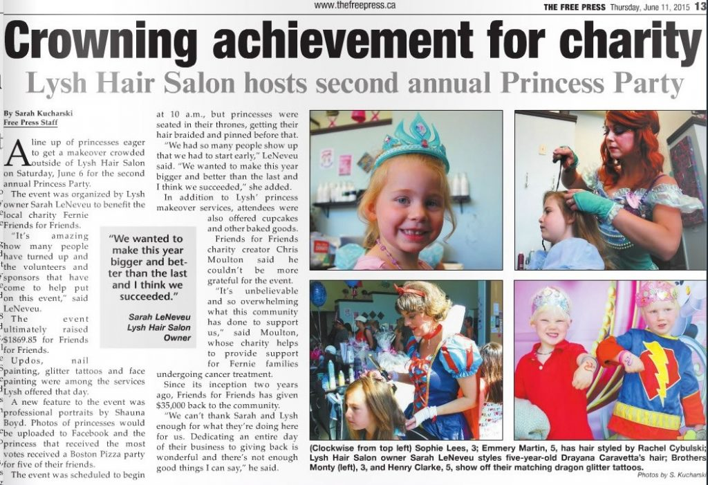 Princess Party Cover Story, 2nd page - Fernie Free Press